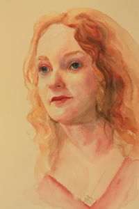 Watercolour Portrait of a young lady
