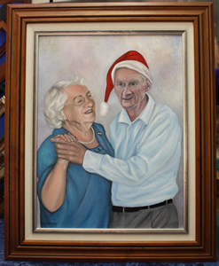 Oil Portrait of Elderly Couple dancing