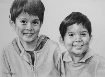 Charcoal Portrait of brothers