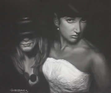 Charcoal and Pastel Portrait of two