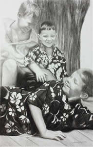 Charcoal Portrait of three young boys