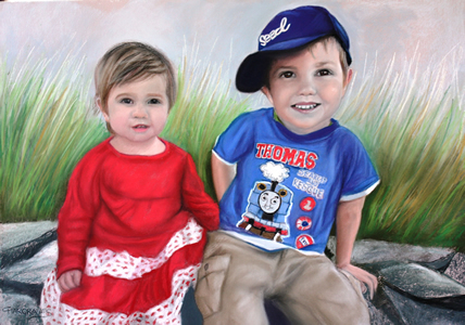 Pastel Portrait of two children