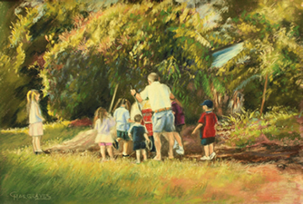 Gardening with the Grandchildren family pastel painting