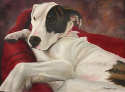 Reclining Dog Pet Portrait in Oil Paint